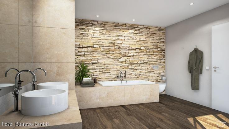 Steinmauer Als Highlight Fur Das Rustikale Feeling Im Badezimmer Badezimmer Fliesen Beige Badezimmer Tolle Badezimmer