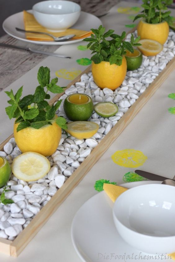 Zitronen-Minz Tischdeko #HomeDecor