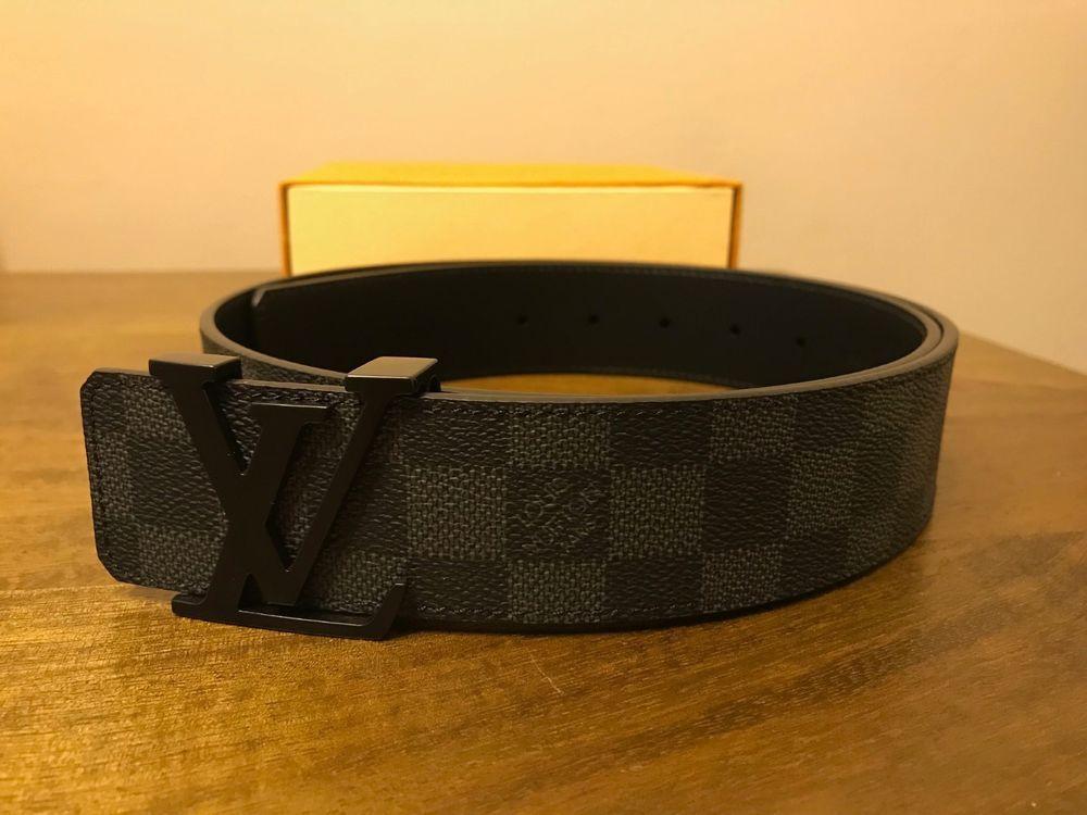 Authentic Mens Louis Vuitton Damier Graphite Belt Size