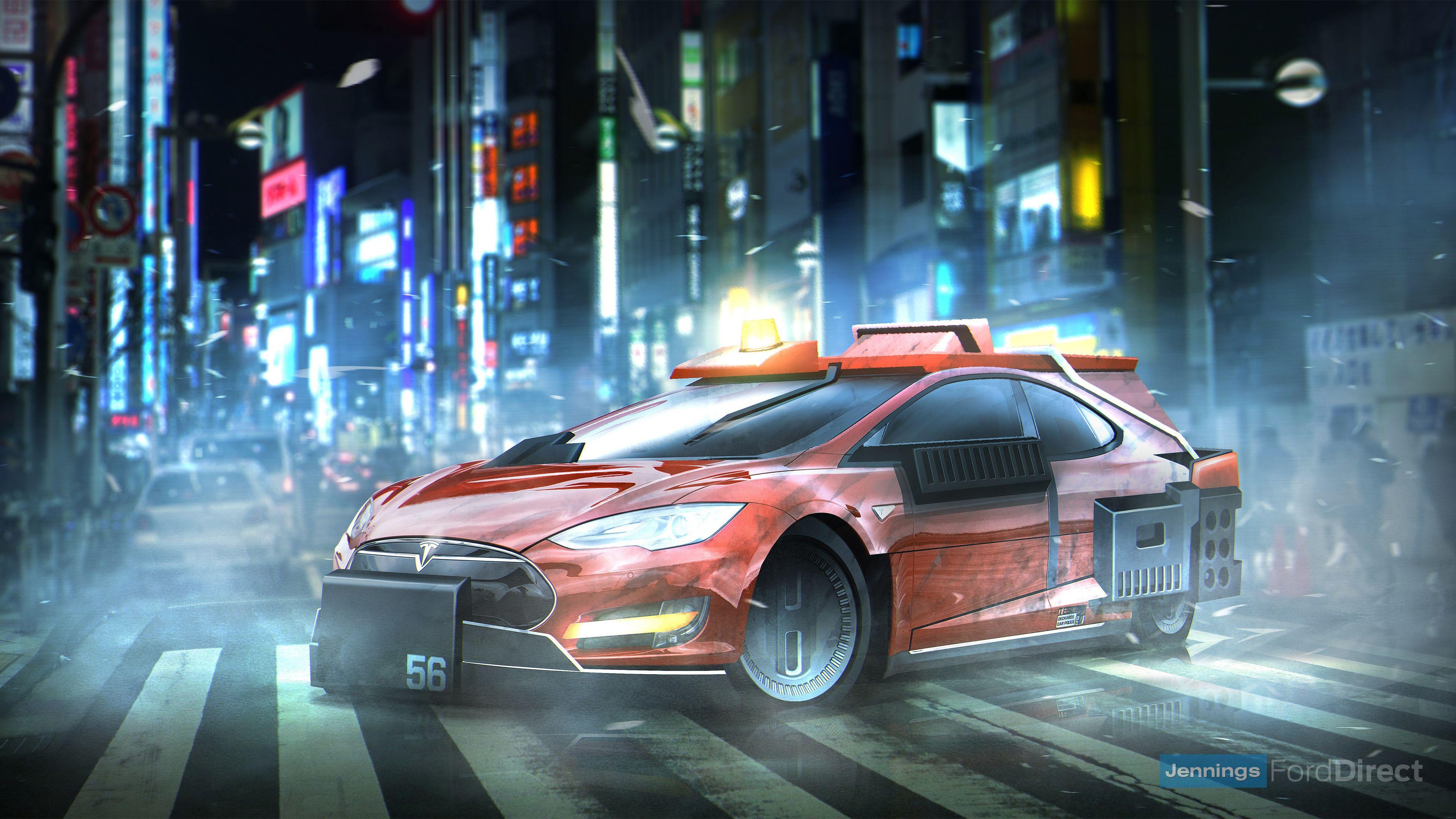 Wallpaper 4k Blade Runner Deckards Sedan Tesla Model S