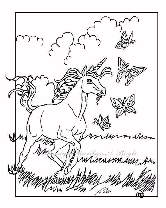 ADULT COLORING PAGE; Unicorn, fantasy, unicorn, chasing