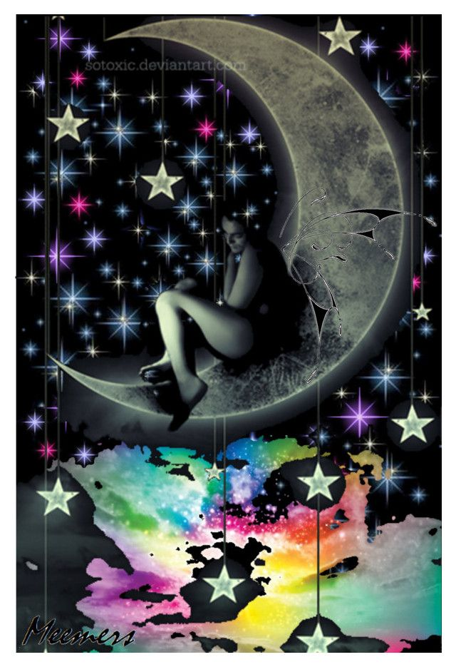Fairy on the Moon by sole-reverie on Polyvore featuring art