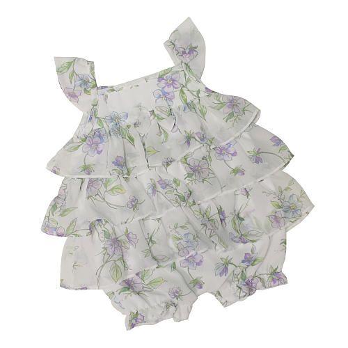 "FAO Schwarz Girls Purple Floral Printed Tiered Ruffle Sleeveless Chiffon Romper - FAO Schwarz - Babies ""R"" Us"