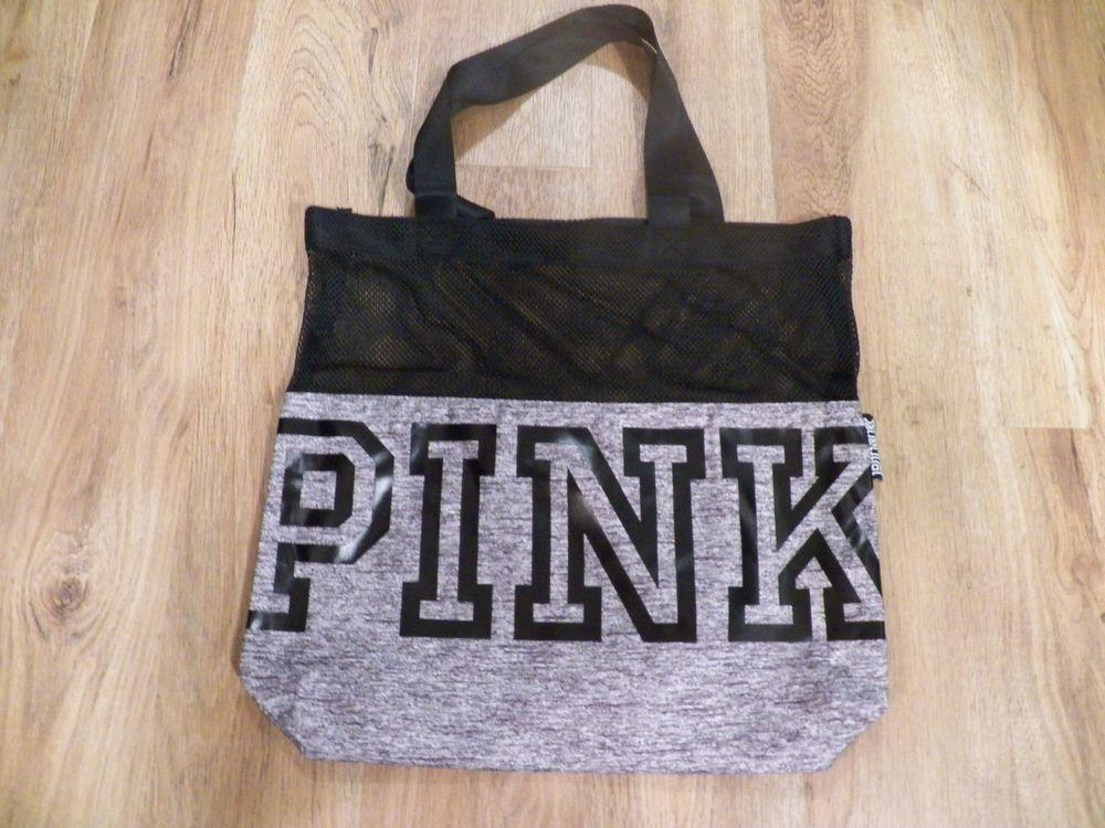 f3768edde2521 NWT Victoria s Secret PINK Mesh Tote Bag 2018 Grey  VictoriasSecret  Tote