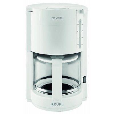 Krups proaroma f 309 01 glas kaffeeautomat weiss 10 tassen 1050watt neu