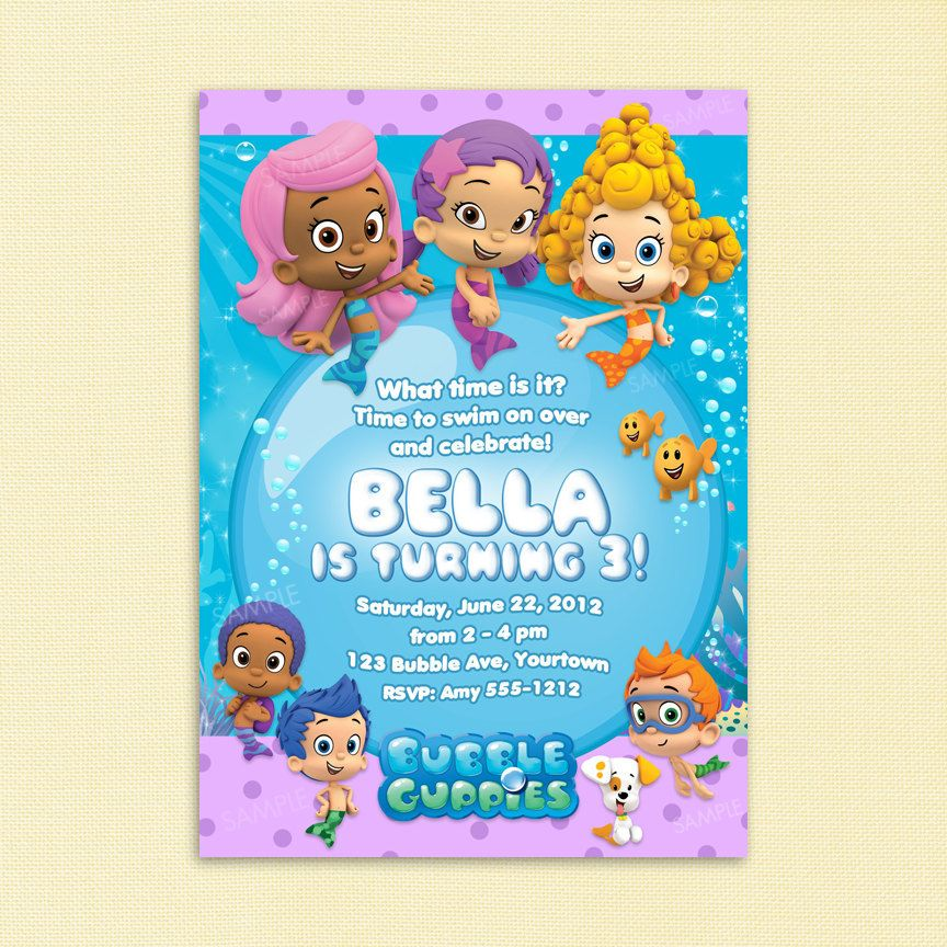 bubble guppies invitation for birthday party - printable file, Birthday invitations