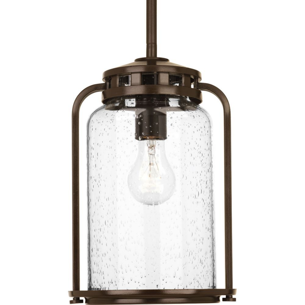 Progress Lighting Botta Wide Single Light Outdoor Pendant With Seedy Gl Antique Bronze Pendants