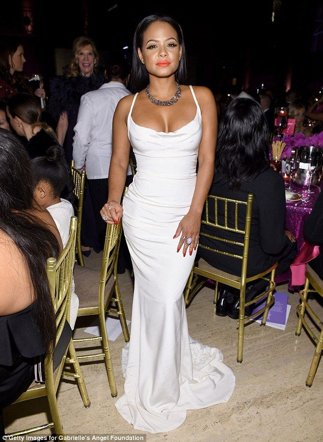 Eye-popping!The Bring It On actress flaunted her ample bosom in the skintight plunging go...