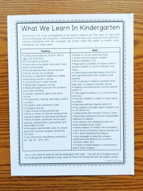 Free Back to School Parent Packet - Simply Kinder