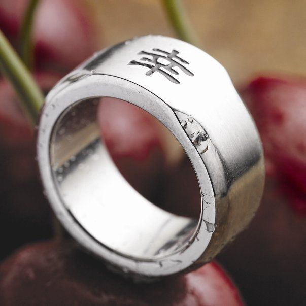 Unique Man Stainless Steel Chinese Good Luck Symbol Ring Band 10mm | RnBJewellery