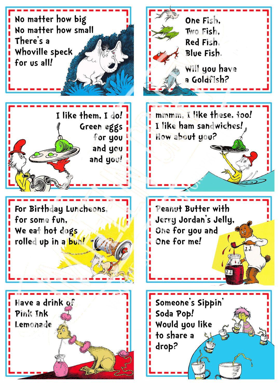 Dr Seuss Party Food Labels 10 00 Via Etsy