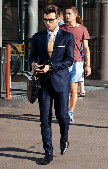 StylishMan:Navy suit, gold tie with tie bar, and black bluchers ...