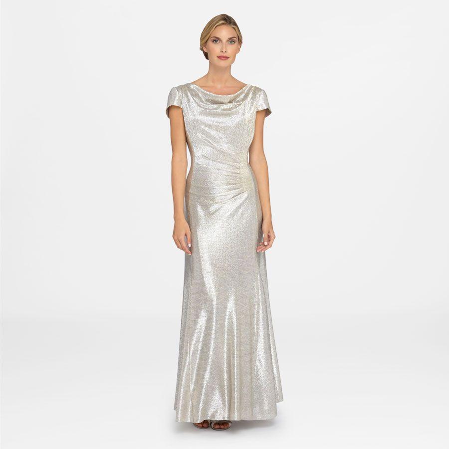 Tahari Arthur S. Levine Metallic Cowl Neck Dress | Wedding ...