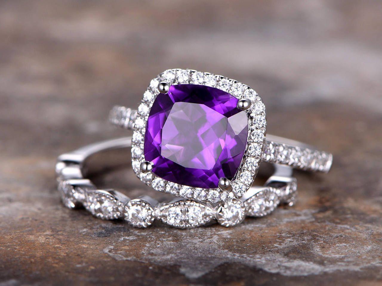 2pc amethyst ring set8mm cushion purple amethyst