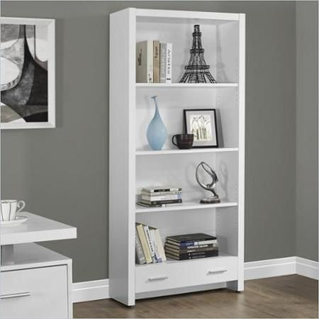 Monarch Bookcase 71 H White With A Storage Drawer Walmart Com Bookcase White Bookcase Bookcase With Drawers