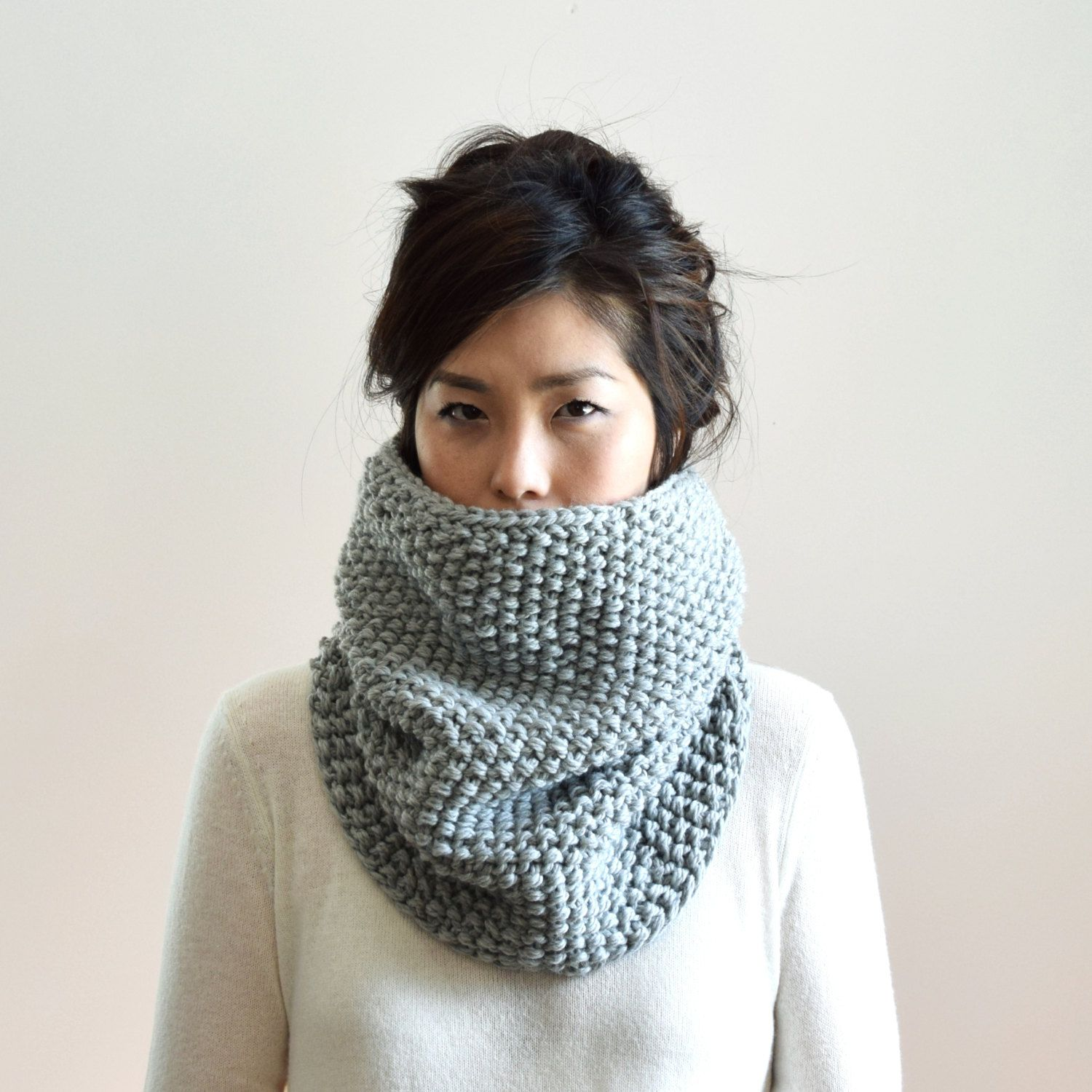 Merino Chunky Knit Cowl Mens Cowl Infinity Scarf Gray By Irismint