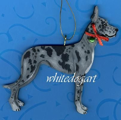 Custom Blue Merle Great Dane Christmas Ornament by whitedogart, $21.99 - Custom Blue Merle Great Dane Christmas Ornament By Whitedogart