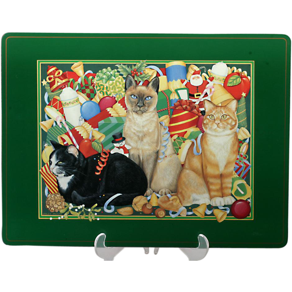 Pimpernel Placemats Christmas Cats Set 4 Large 12 X 17 English Cork Backed Christmas Cats Placemats Vintage Holiday