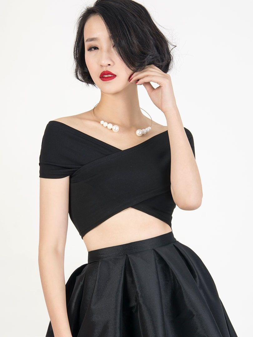 372f7ca251d New at Lazaara the Black Off The Shoulder Wrap Front Crop Top for only 17