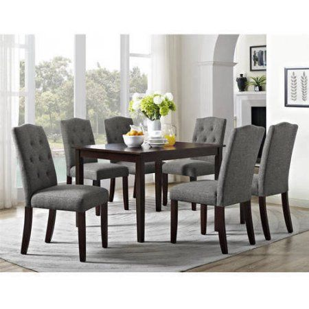Better Homes And Gardens 7 Piece Dining Set With Upholstered Chairs Grey Brown