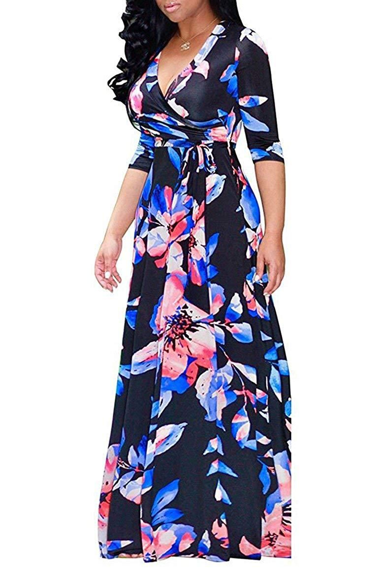 0690a195885 Locryz Women s V Neck 3 4 Sleeve Digital Floral Printed Party Loose Long  Maxi Dress with ...