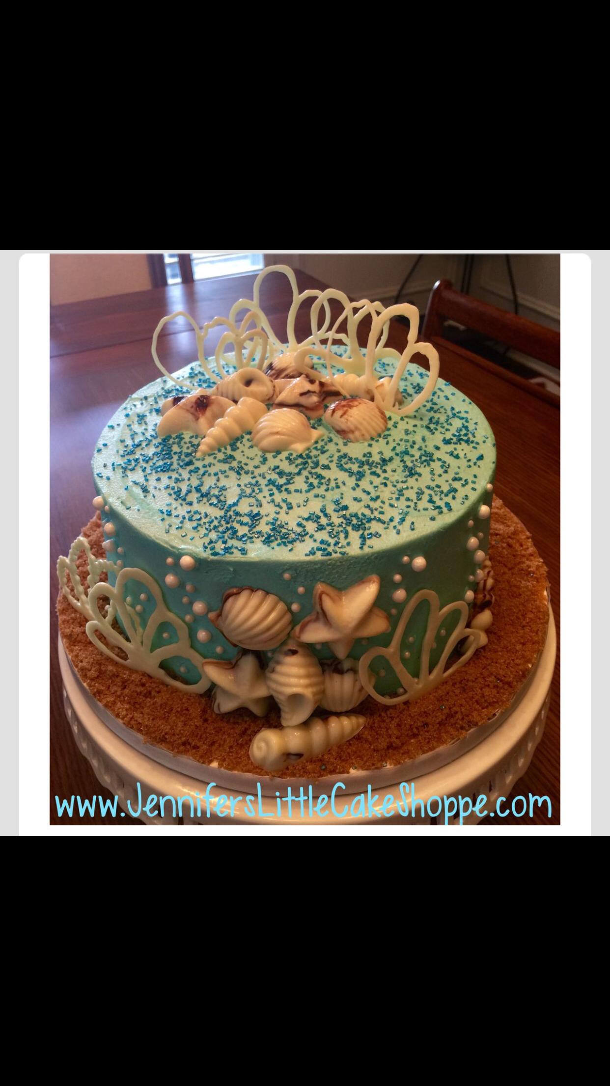 Seashell Birthday Cake With Chocolate Seashells From Jennifers