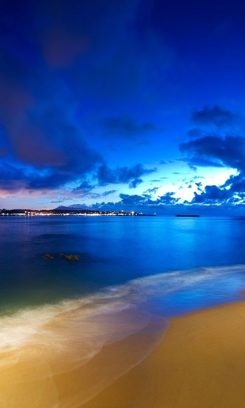 Cloak Of Night Beach Beautiful City Clouds Lights Nature Sea Sky Sunset Wallpapers