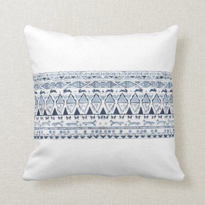 Blue & White Woodland Animal Fox Rabbit Pattern Throw Pillow | Zazzle.com