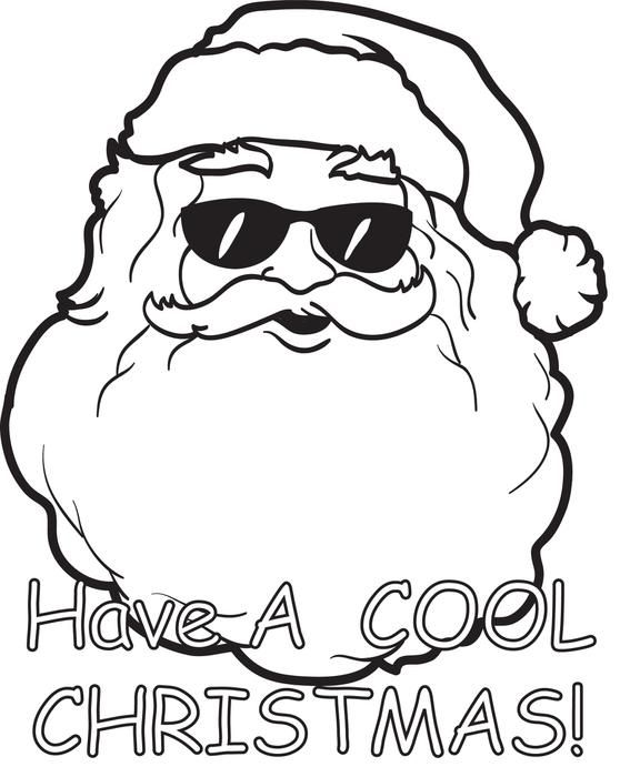 Printable Cool Santa Claus Coloring Page For Kids Free Christmas