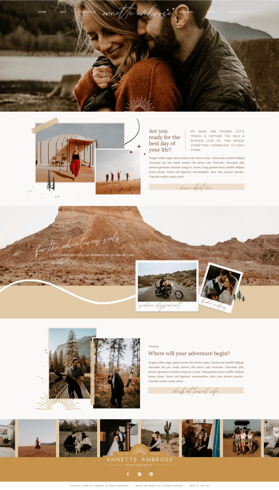 Boho Photography Website In 2020 Photographer Website Design Photographer Website Boho Website