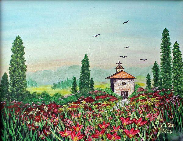 Tuscan Prayers, a Church in Tuscany by Vivian May Edwards