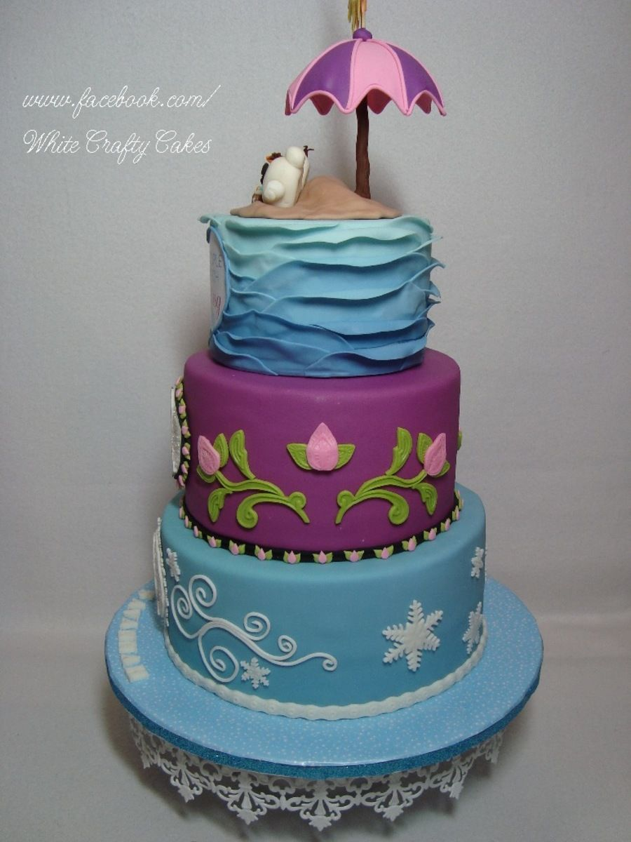 Frozen Cake With Anna Elsa And Olaf In Summer Frozen