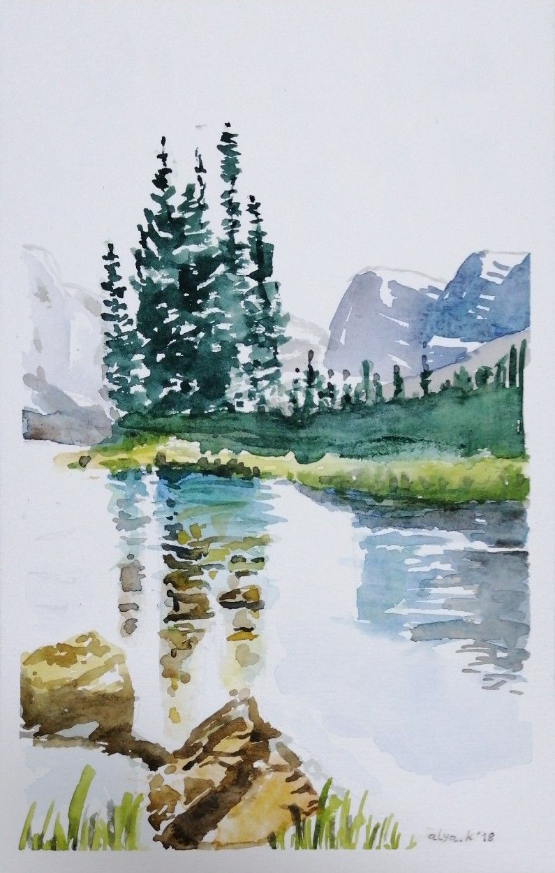 Watercolors Landscape Mountain Lake Nature Trees By Alya K Art
