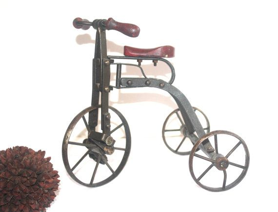 Vintage English Steel Miniature Tri-cycle by AntiqueAlchemyShop