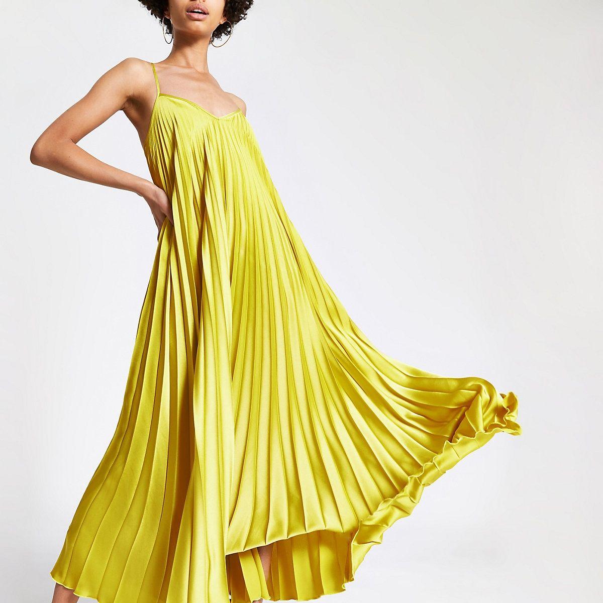 Flounce Bardot Pleated Satin Maxi Prom Dress   Maxi dress