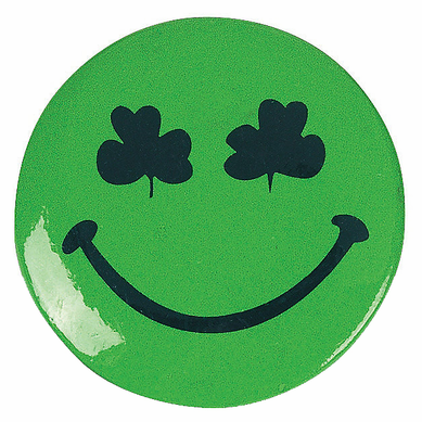 Shamrock Smiley Face Buttons (12 Pack)