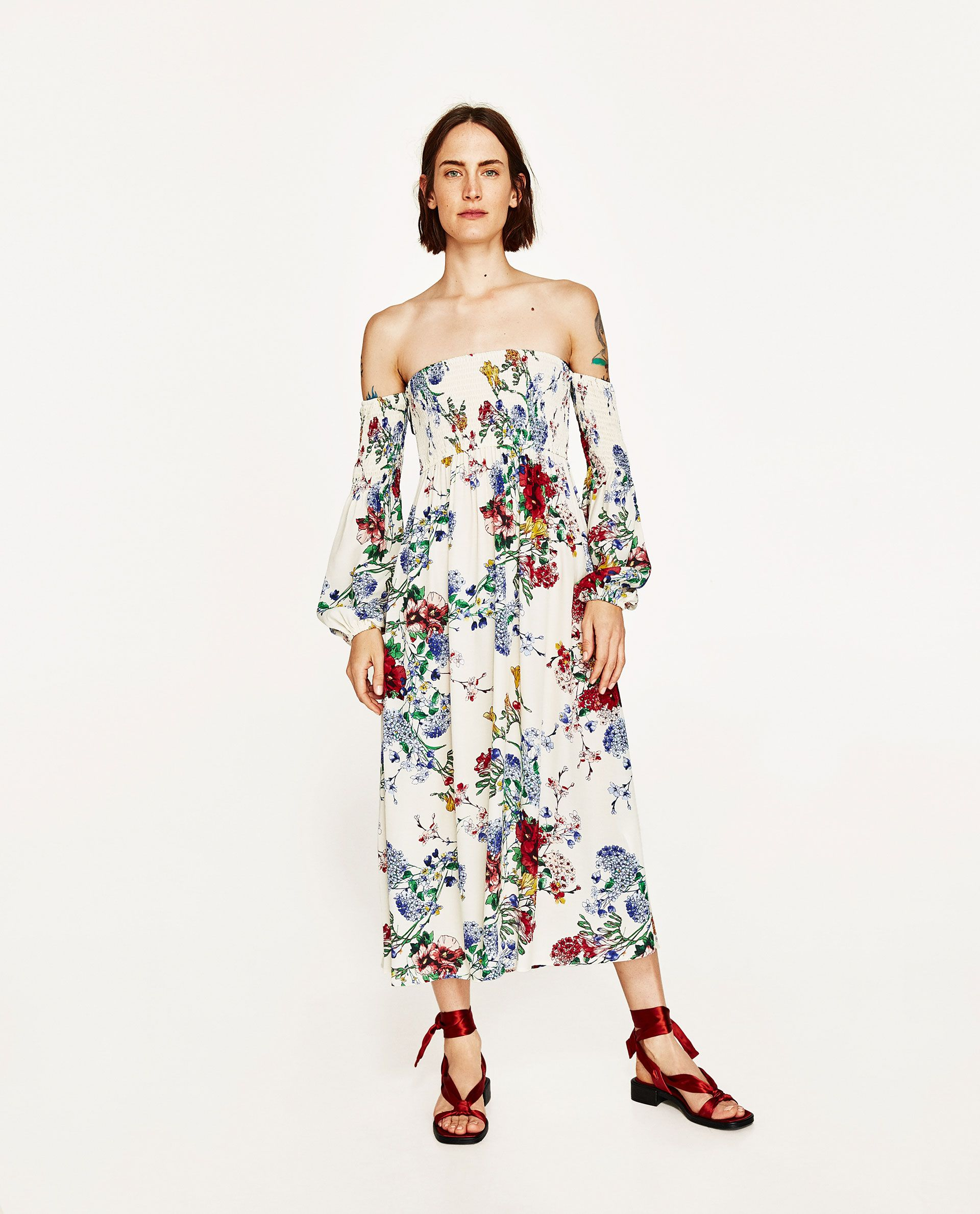 Zara White Floral Maxi Off The Shoulder Dress Gift Guide