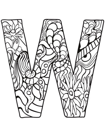 Letter W Zentangle Coloring Page Free Printable Coloring Pages Coloring Letters Alphabet Coloring