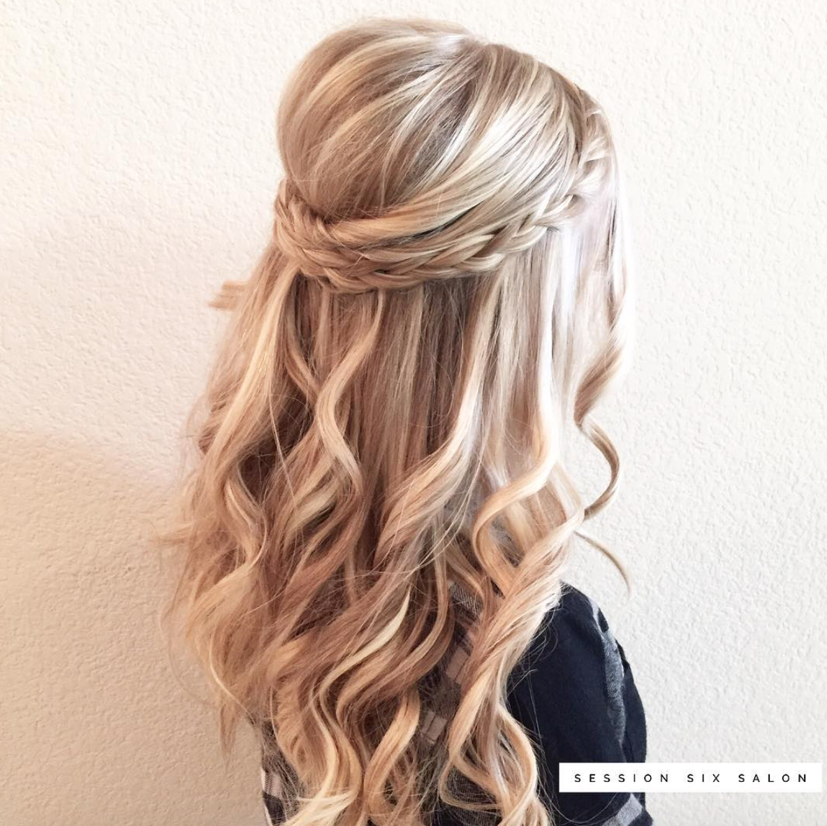 Wedding Hairstyle Half Updo Pinned Back Bridal Half Updo With