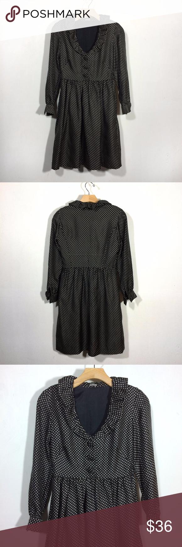 J crew silk polka dot long sleeve retro dress retro dress ruffle