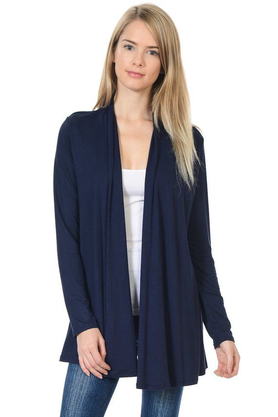 b92ae15b2ec Solid Rayon Spandex Long Sleeve Jersey Cardigan Sweater Navy in 2019 ...