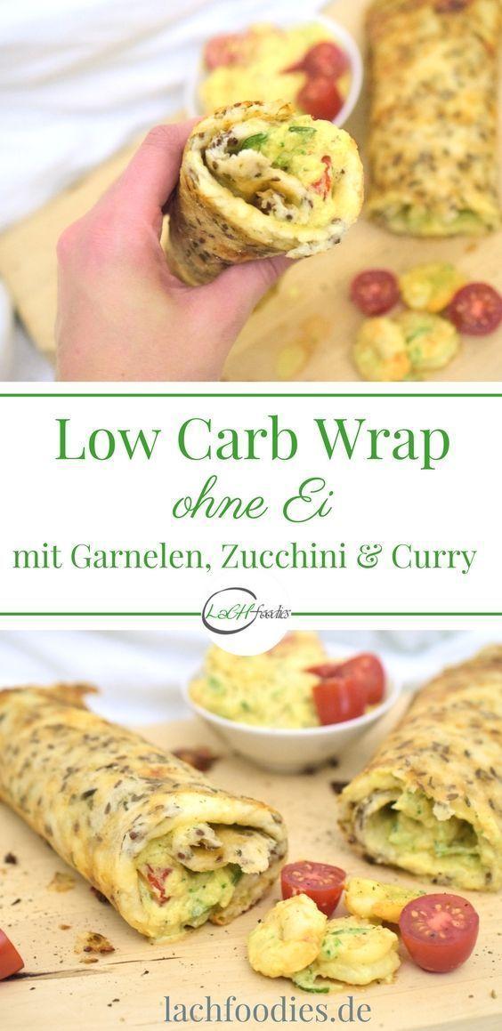 Low Carb Wrap (ohne Ei) mit Curry-Garnelen-Füllung - Rezepte Low Carb Wrap (ohne Ei) mit Curry-Garnelen-Füllung - Rezepte -