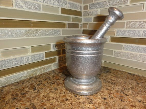 Antique Vintage Armetale Morter and Pestle Hand by UnexpectedFinds, $59.95