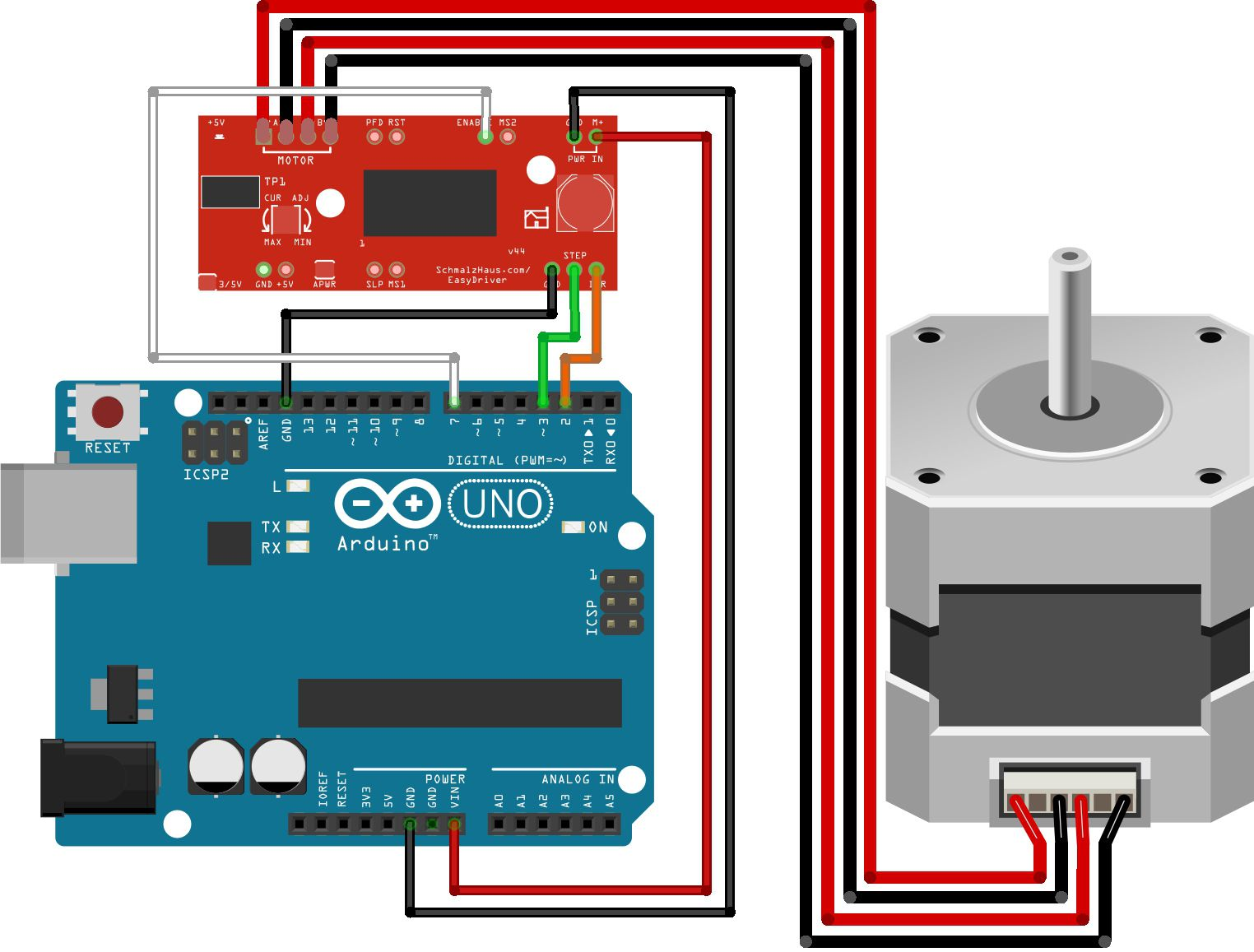 The wiretable for arduino easydriver stepper motor for Arduino and stepper motor