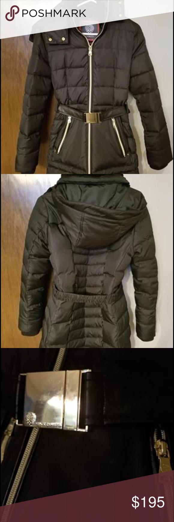 Vince Camuto Black W Gold Details Puffer Coat Puffer Coat With Hood Long Puffer Coat Red Puffer Jacket [ 1740 x 580 Pixel ]