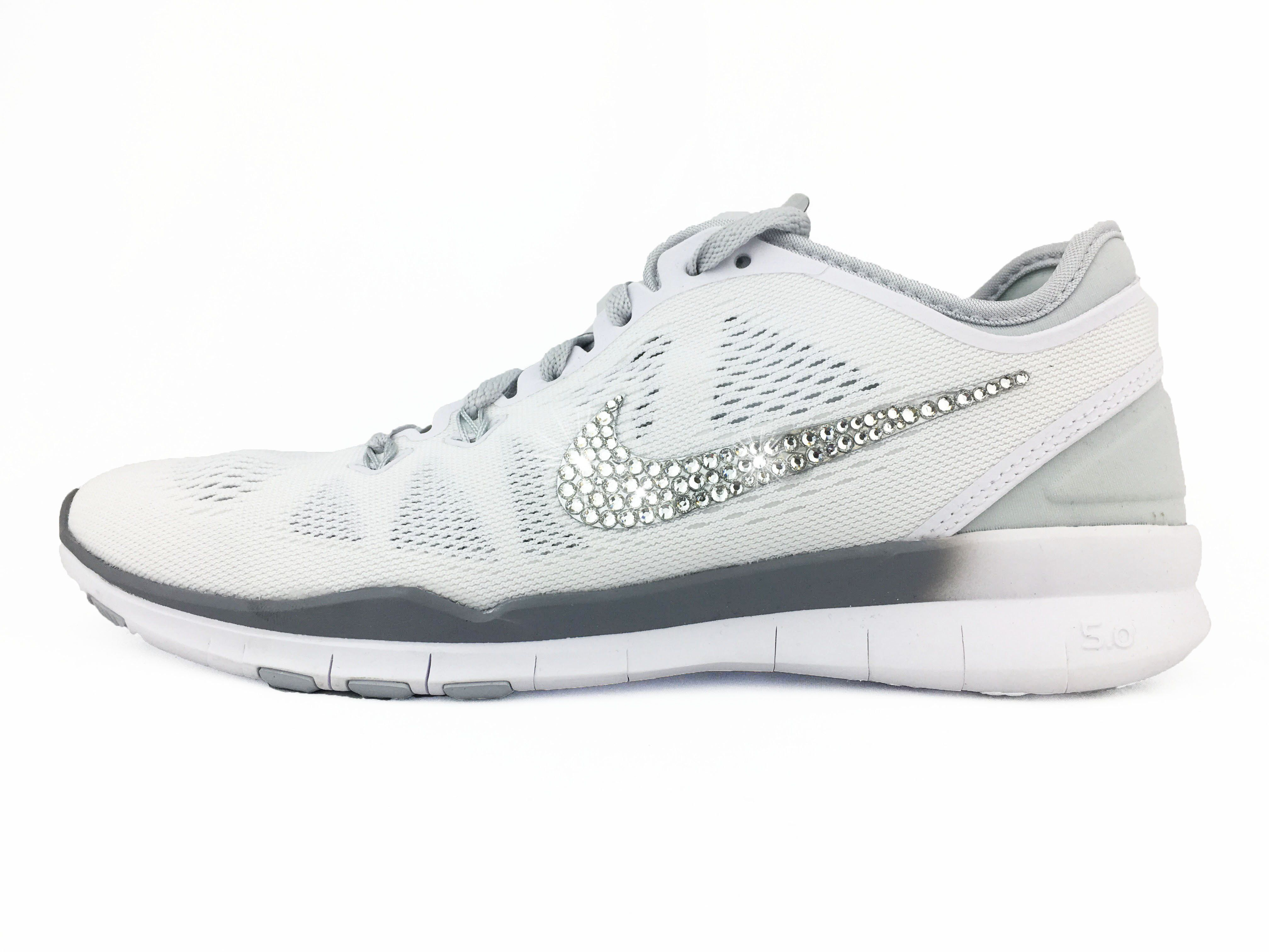 CLEARANCE - Nike Free 5.0 TR Fit 5 - Crystallized Swarovski Swoosh -  White Silver 94327a613b23