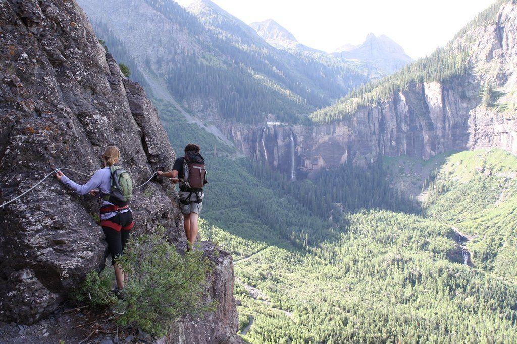 "The ""Via Ferrata"" route near Telluride, CO Mountain"