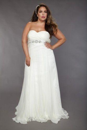 Simple Strapless Empire Waist Chiffon Beach Wedding Dress For Plus