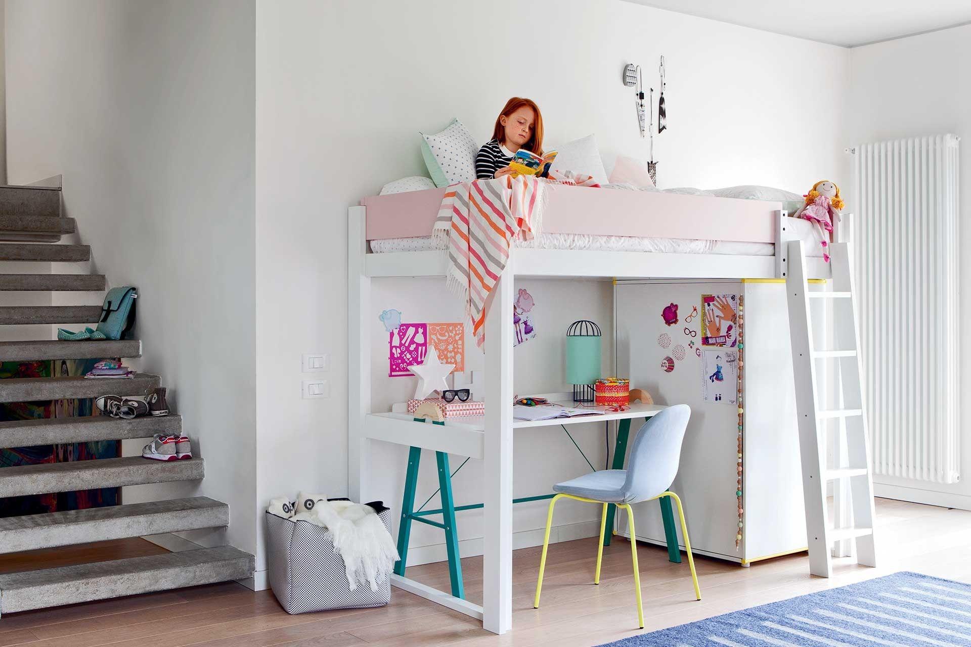 Camas altas en habitaciones infantiles pinteres - Camas infantiles nina ...