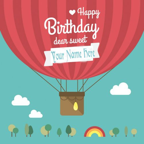 Write Your Name On Happy Birthday Balloon Greeting Cards